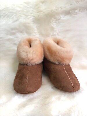 Woolfield Ladies Genuine Sheepskin Rolled Cuff Bootie Slippers Women's Boots