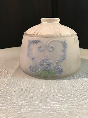 """Vtg Frosted Glass Lamp Shade Painted Blue Flowers Ceiling 2 1/8"""" Fitter"""