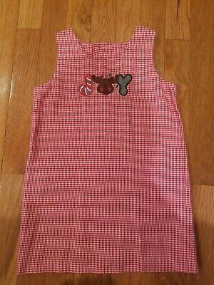 Kelly's kids Size 4 Jumper Dress Boutique Smocked Joy Reindeer Christmas