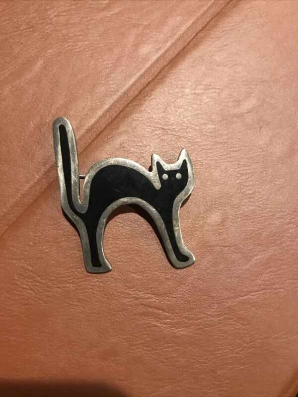Vintage Collectible Taxco ANNE HARVEY Sterling Silver Cat Brooch Pin