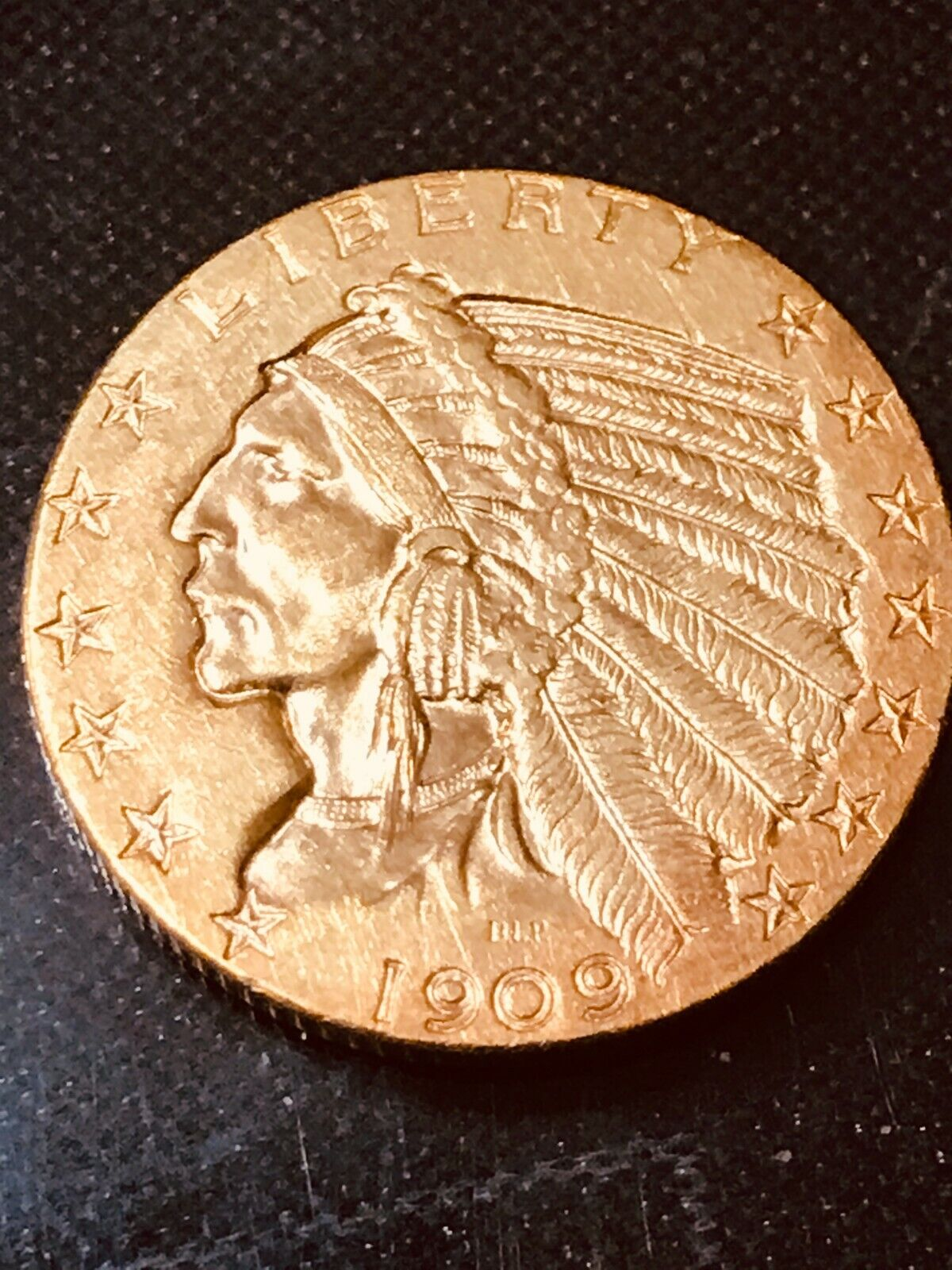 1909 D 5 INDIAN HEAD LIBDERTY GOLD HALF EAGLE DOLLAR DENVER - $521.00