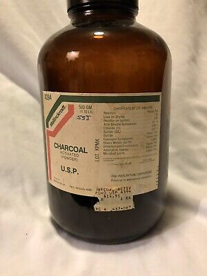 Vtg Apothecary Amber Glass Jar Activated Charcoal Label, Screw-on Lid Drug Store