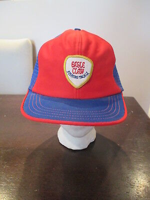 Rare Vintage Eagle Claw Fishing Tackle Trucker Hat Snapback Cap Red Blue WOW for sale  North York