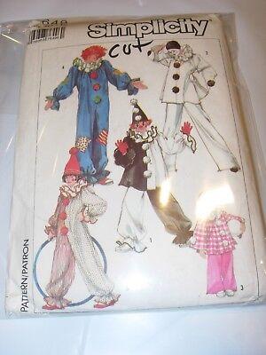 Boys Mime Costume (BOYS GIRLS CUT SIMPLICITY 7642 Pattern HALLOWEEN COSTUME CLOWN MIME size)