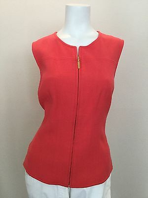 ESCADA Size  Coral Red Sleepless Top with front Gold Zipper. Size Medium