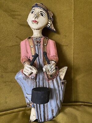 The Hand Carved Painted Wooden Wall Hanging Musician Figures Thailand