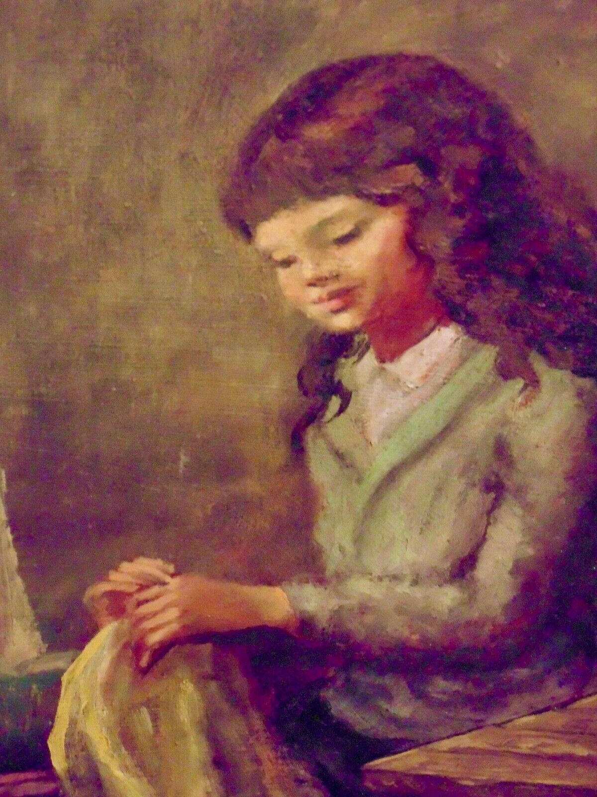JEAN ROBERT IPOUSTEGUY VINTAGE ORIGINAL OIL S GIRL SEWING FRENCH CHILD LISTED-NR - $149.00