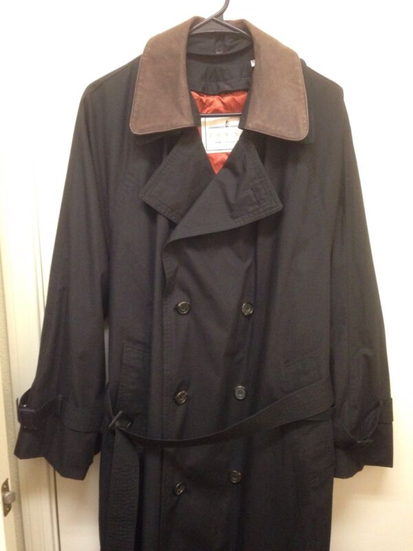 London Fog Towne Black Trench Coat Jacket 38 Short Removable Lining VGC