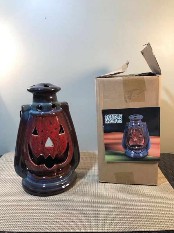 "10"" inch Stoneware Jack-O-Latern Halloween Candle Holder"