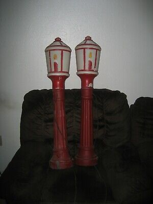 Vintage Christmas Lighted Lamp Post blow molds pair 41'' tall