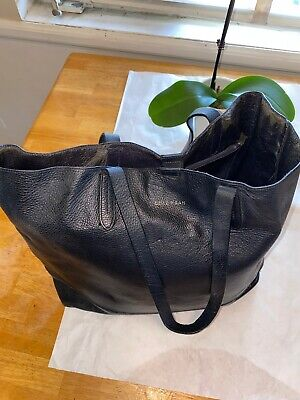 COLE HAAN Large Pebbled Black Leather Tote Shopper Shoulder Bag Purse Black Leather Large Tote