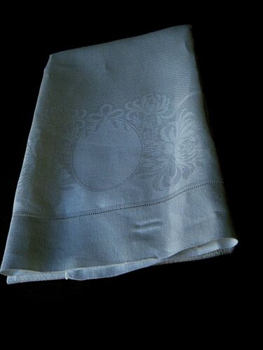 Antique bath linen towel damask  cameo for monogram and floral design