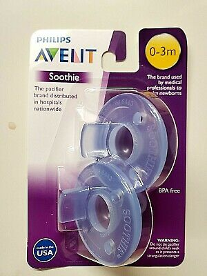 PHILIPS AVENT SOOTHIE PACIFIER BLUE 0-3 MONTHS 1 PACKS 2 COUNT SEALED