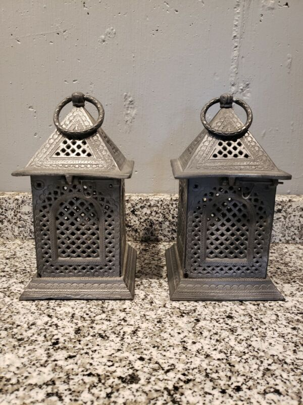 Vintage Candle Metal Lantern - Set of 2