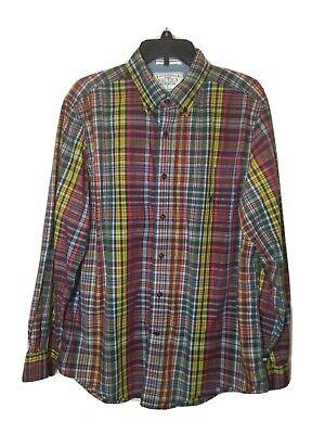 NAUTICA Men's Size Large Shirt Colorful PLAID Cotton Chest Pocket Button Down