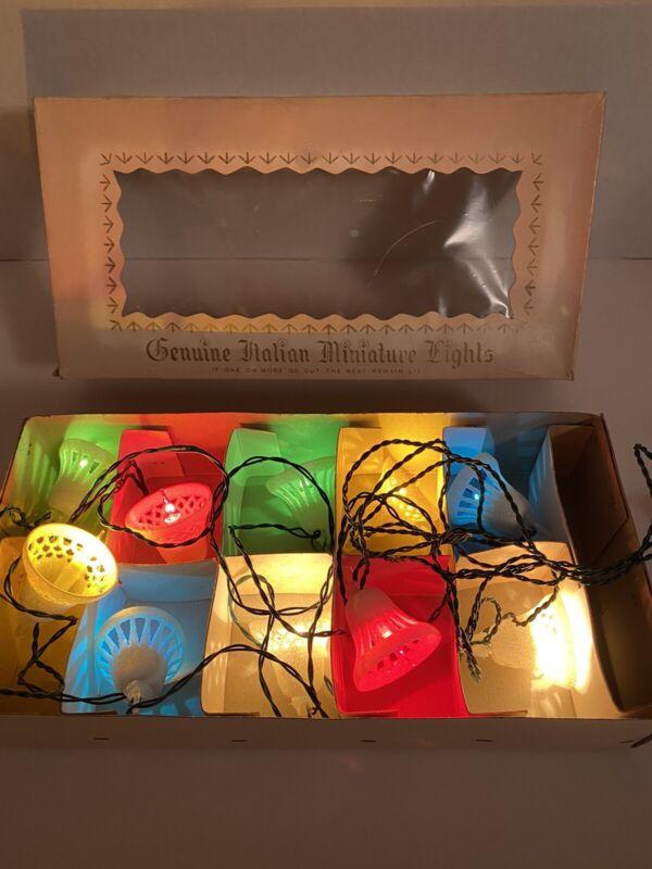 Vtg Genuine Italian Miniature Christmas Light Set 10 White Bells vintage Italy