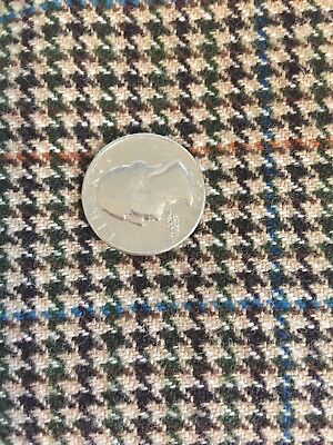 Vintage English Gardiner Heavy Wool Fabric Dk Brown Houndstooth Plaid shy of2yds
