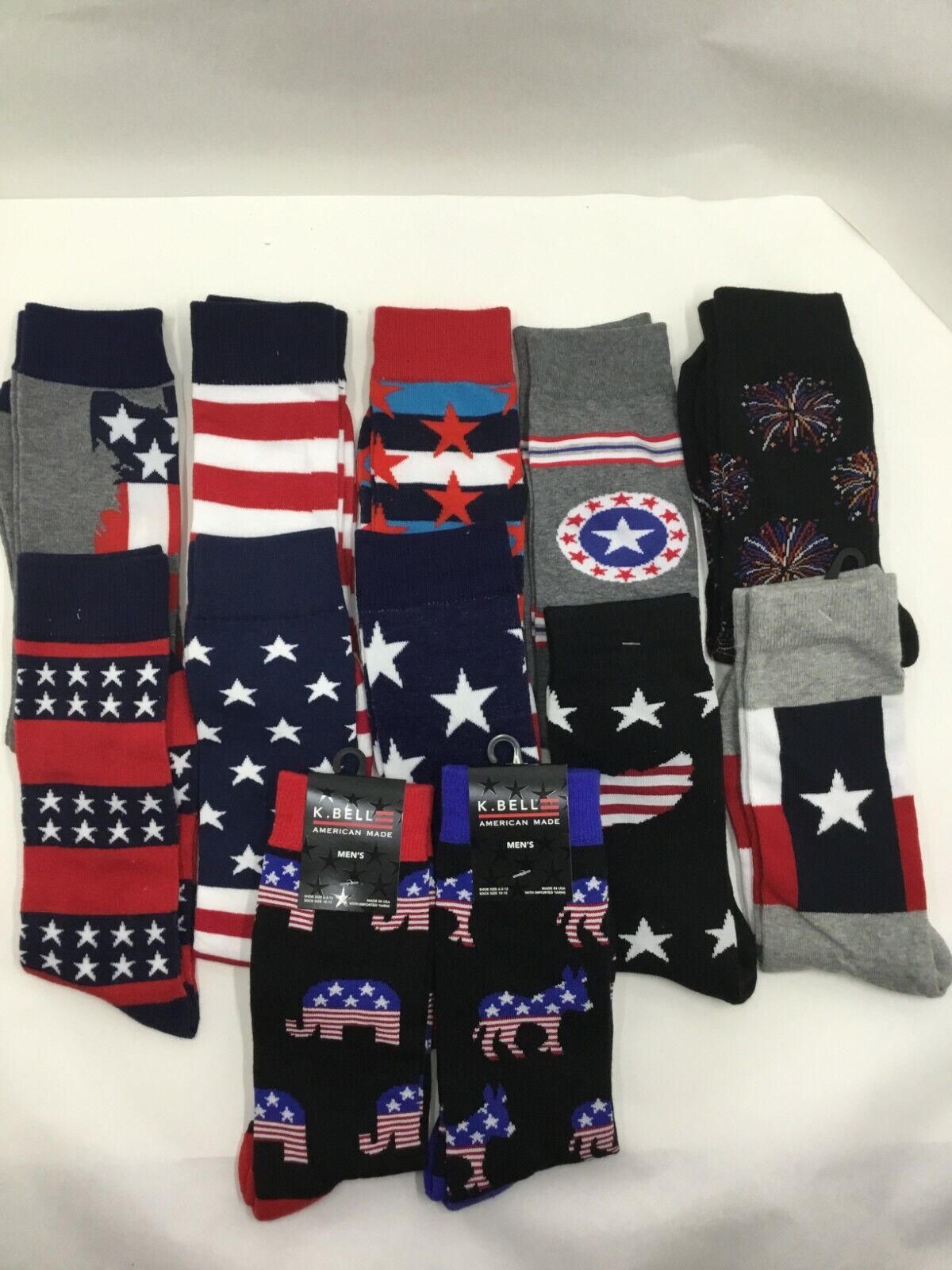 ONE PAIR  K.BELL MADE IN USA NEW  4TH OF JULY  USA   CREW SOCKS MEN SIZE 10-13 Clothing, Shoes & Accessories