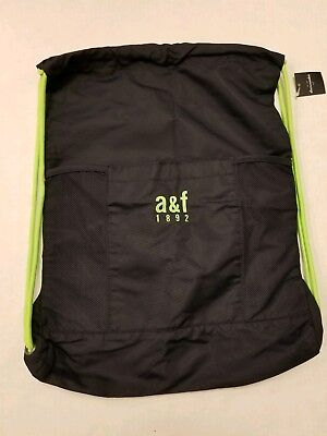 ABERCROMBIE & FITCH LIGHT NAVY & GREEN Drawstring & NYLON Bag Backpack BRAND NEW for sale  USA