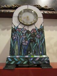 SLAG TABLE CLOCK ELECTRICAL LIGHTED BATTERY CLOCK PANELED HAND MADE