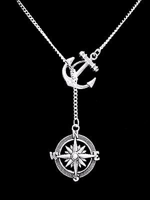 Compass Anchor Necklace Refuse To Sink Nautical Direction Lariat Jewelry - Nautical Jewelry