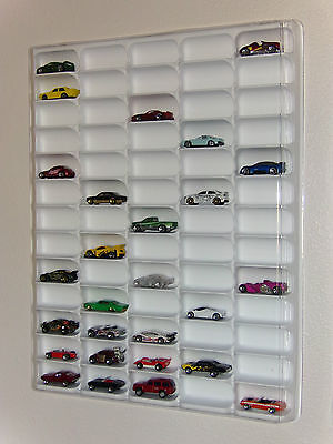 Hot wheels display case (white) w/clear dust cover for 65 loose diecast cars