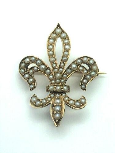 Victorian Fleur De Lis Seed Pearl Brooch/Watch Pin 14k Yellow Gold