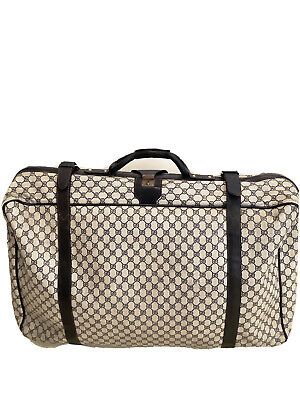 Vintage Gucci Luggage Blue GG Logo Suitcase Soft Side Navy Monogram Collectible