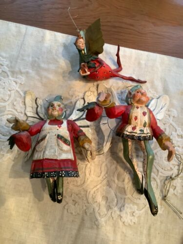 2 HOUSE OF HATTEN ORNAMENTS FAIRY CUPBOARD KEEPER ELF STRAWBERRY '89 & Ornament