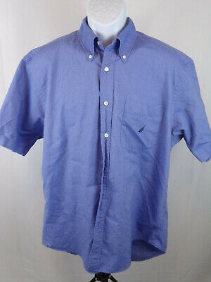 Nautica Mens Large Blue Short Sleeve Button Down Casual Shirt A36