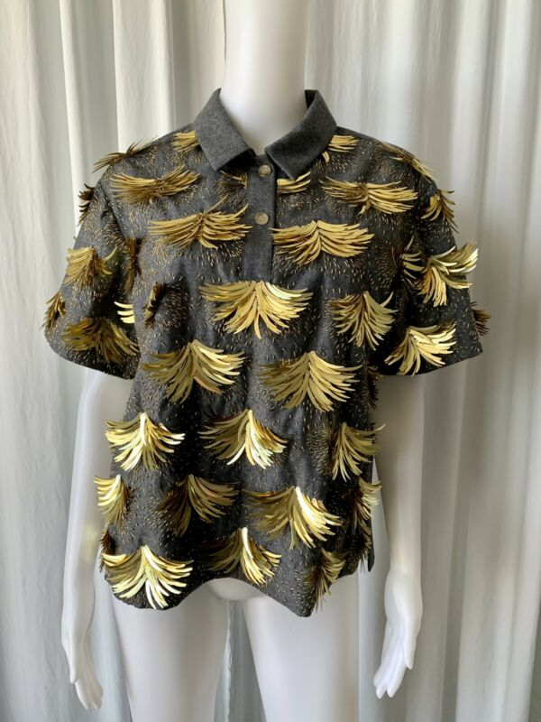 J.Crew Gray Flannel Polo Top with Gold Sequins Embellishments M/L