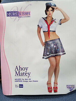 Sexy Sailor Costume Halloween Party Cute! 3-piece Sz. Medium Women Secret - Halloween Costumes 3 Wishes