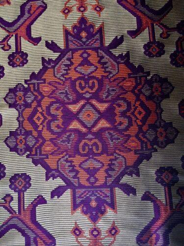 SAHCO DONGHIA Mayu grey purple rust polyester silk woven Italy 9+ yards new