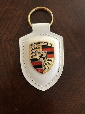 White Porsche Crest Keyring Key Chain Leather New OEM USA SHIPPER