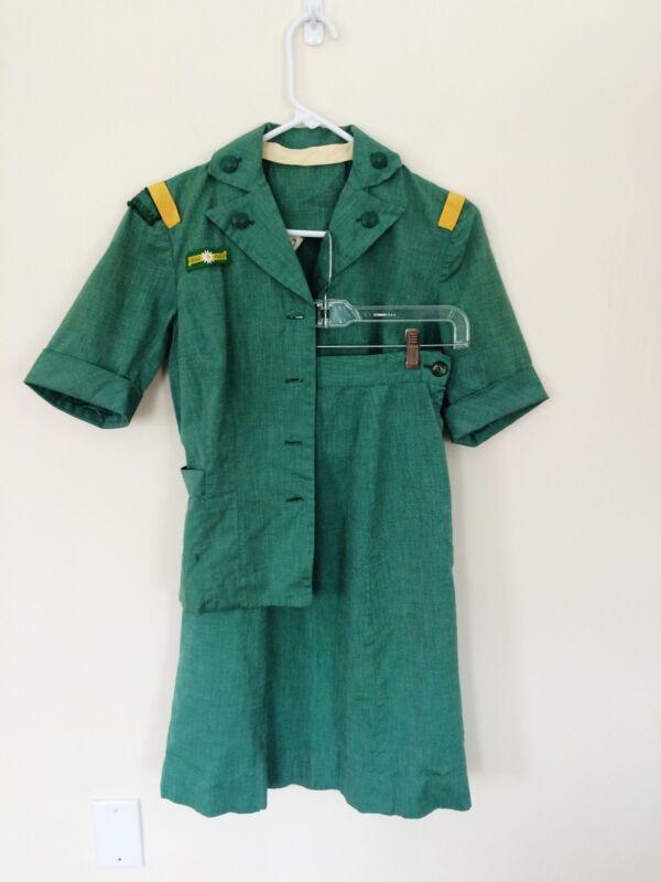 VTG Rare 1960 Official Girl Scout Leader Uniform w 1860-1960 Centennial Patch Sm