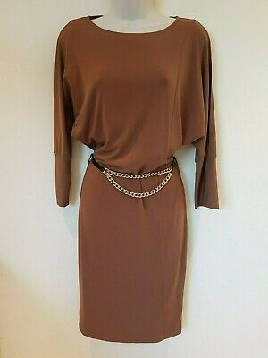 VERSACE 1969 brown camel dress with belt IT 36 UK 6-8 BNWT