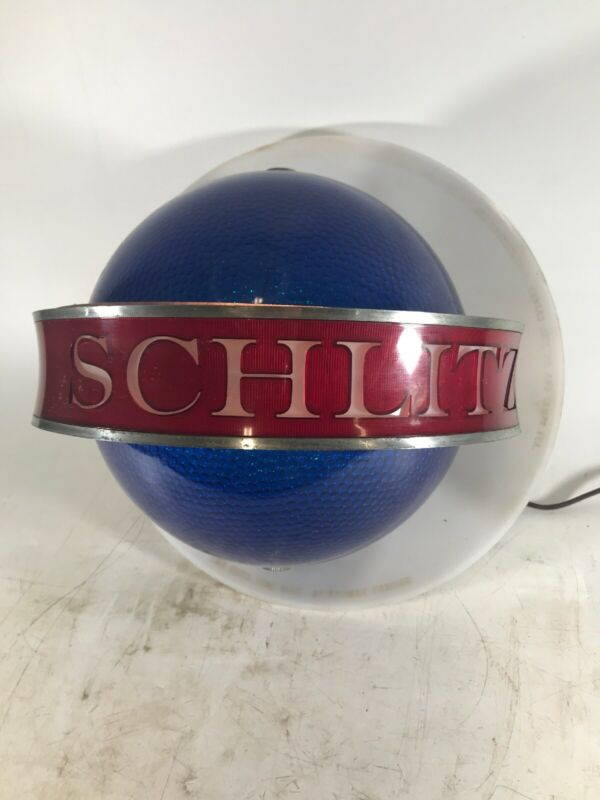 Rare Vintage Schlitz Beer Revolving Blue Globe Lighted Wall Sconce Sign