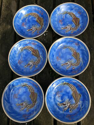 VINTAGE JAPANESE MORIAGE BLUE DRAGON WARE X6 SMALL BOWLS