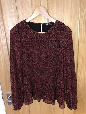 Zara Long Sleeve Pleated Red Leopard Print Smock Top. Size M