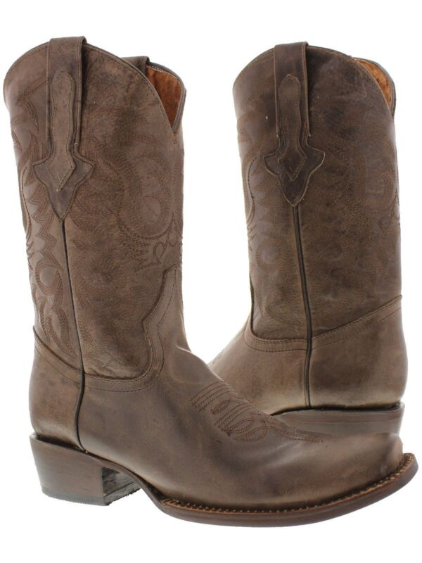 Mens, Brown, Classic, Leather, Western, Cowboy, Boots, Distressed, Plain, Square, Toe