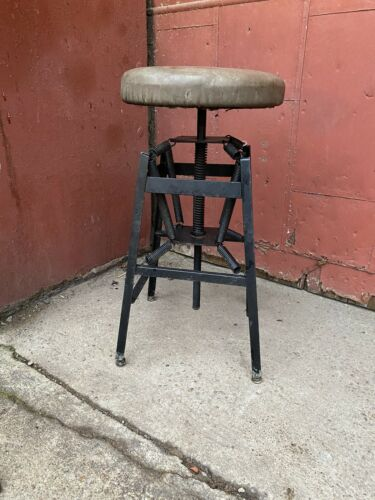 Rare 1900s Spring Seat Industrial Stool Chair OSH CABINETE CO. Dayton Oh Desk - $575.00