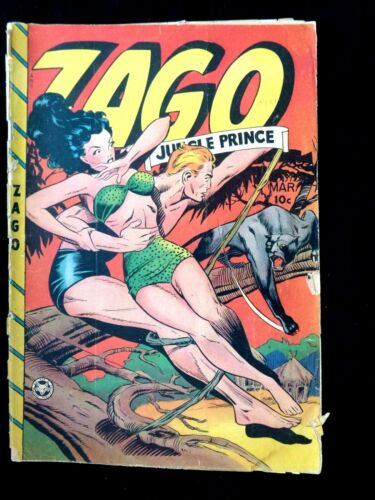 "1948 Zago "" Jungle Prince "" #4 Matt Baker Cover Art Fox Features Syndicate GGA !"