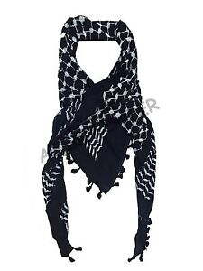Hirbawi Kufiya White on Black Original Arab Scarf Palestinian Shemagh Unisex New
