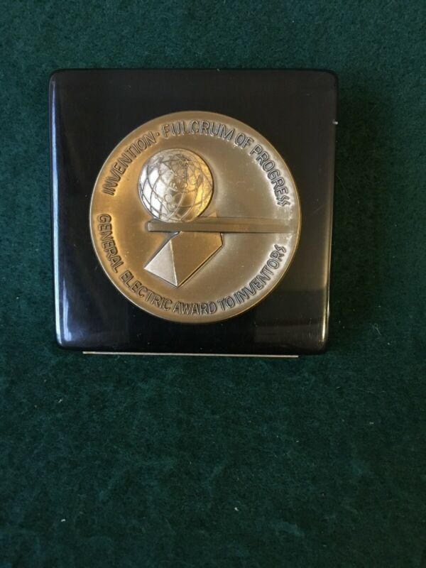 General Electric Award To Inventors Fulcrum Of Progress Paperweight,Medallion