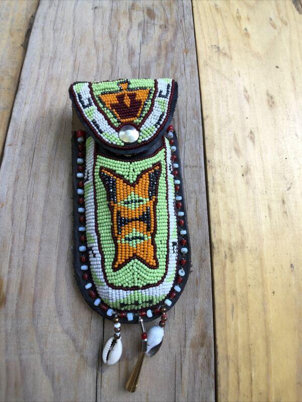 Vintage Beaded Folding Knife Leather Case Sheath Native American Design Handmade