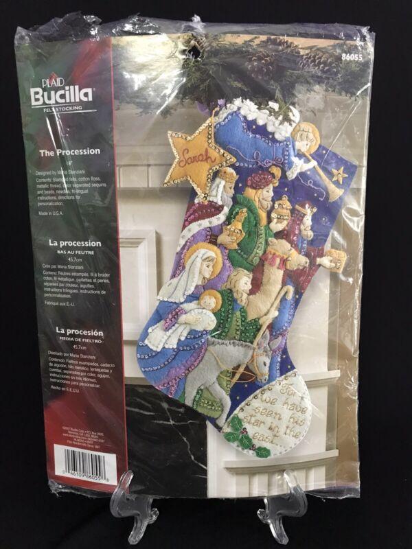 "Bucilla Christmas 18"" Stocking Kit The Procession Nativity Wise Men New Open Pkg"