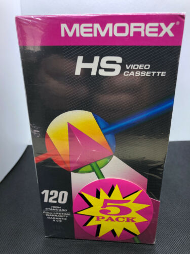 MEMOREX VHS HS Video Cassette 5 Pack Sealed