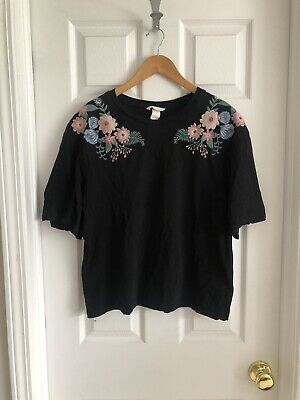 H&M Embroidered Floral Black T Shirt, Womans size Large