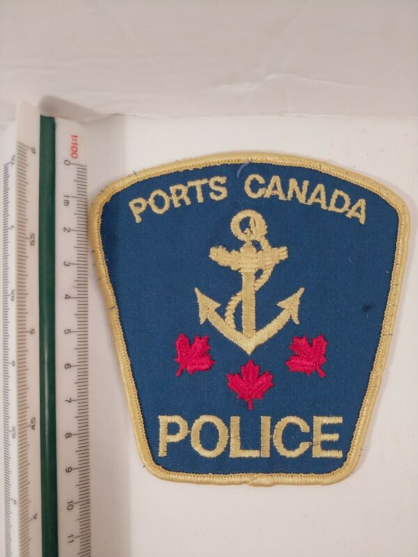 1x Obsolet Ports Canada Police Patch 3 Red  Maple Leaf Gold And Blue