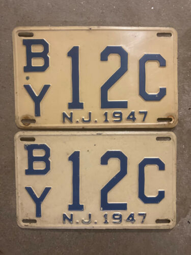 1947 New Jersey license plate pair BY 12 C Bergen County